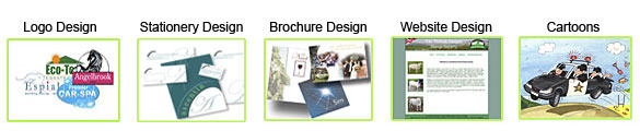 Logo Design Stationery Brochure and Leaflet Design Websites Cartoons